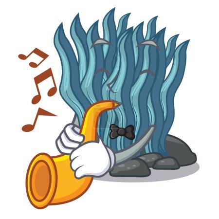 Illustration pour Avec cartoon algues bleu trompette sous l'illustration vectorielle de mer l'eau - image libre de droit