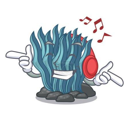 Illustration pour Caricature d'algues bleu musique écoute sous l'illustration vectorielle de mer l'eau - image libre de droit