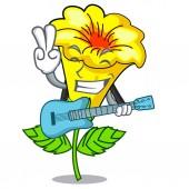 With guitar allamanda flowers in a cartoon pots