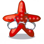 Crying red starfish in the cartoon shape
