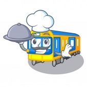 Chef with food subway train isolated in the cartoon