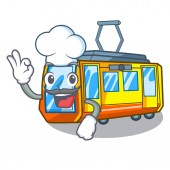 Chef electric train isolated with the cartoon