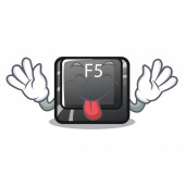 Tongue out longest F5 button on cartoon keyboard