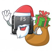 Santa with gift longest F5 button on cartoon keyboard
