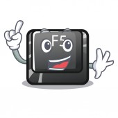 Finger longest F5 button on cartoon keyboard