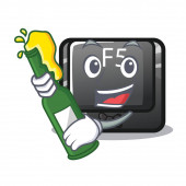 With beer longest F5 button on cartoon keyboard