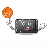 With basketball tab button installed on computer character