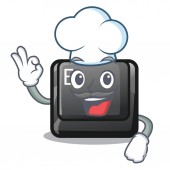 Chef E button attached to cartoon keyboard