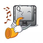 With trumpet button Q in the character shape