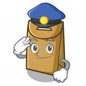 Police cartoon paper bag at table register