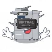 Virtual reality copier machine above mascot wood table