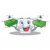 With money bag drone in the a character shape