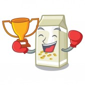 Boxing winner soy milk poured in cartoon glass