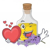 With heart lavender oil in the character shape