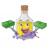 With money bag lavender oil in the character shape