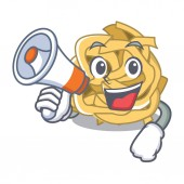 With megaphone fettucine isolated with in the mascot