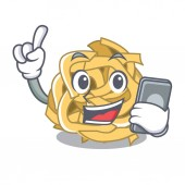 With phone fettucine isolated with in the mascot