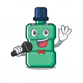 Singing mouthwash in the a character shape