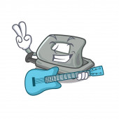With guitar hole puncher placed in cartoon drawer