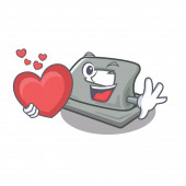 With heart hole puncher placed in cartoon drawer
