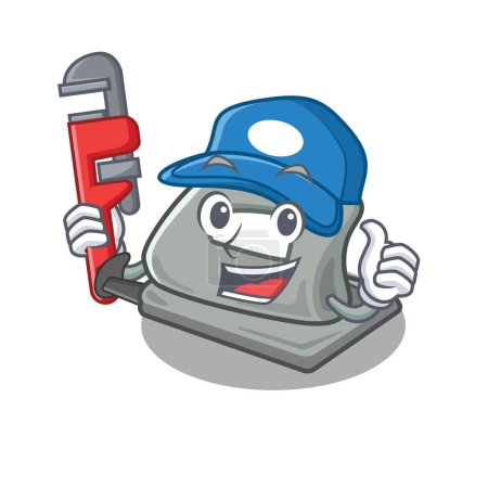 Illustration for Plumber hole puncher in the cartoon shape vector illustration - Royalty Free Image