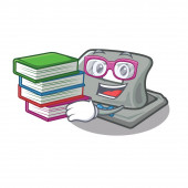 Student with book hole puncher in the cartoon shape