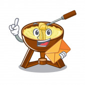 With envelope cheese fondue with in mascot shape