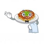 Waiter okonomiyaki isolated with in the character
