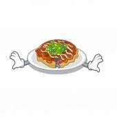 Money eye okonomiyaki is served on cartoon plate