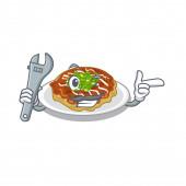 Mechanic okonomiyaki is served on cartoon plate