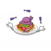 Juggling okonomiyaki is served on cartoon plate