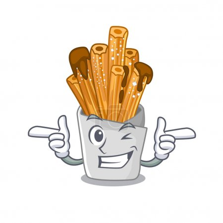 Wink churros isolated with in the cartoon
