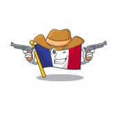 Cowboy flag france fluttered on character pole