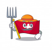 Farmer flag switzerland with the mascot shape