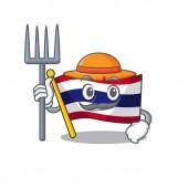 Farmer flag thailand cartoon on shaped mascot