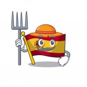 Farmer character spain flags formed with cartoons