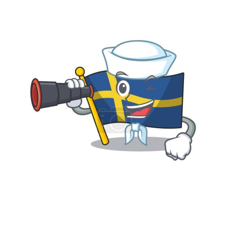 Sailor with binocular flag sweden with the mascot ...