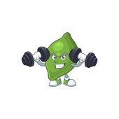 Fitness lime fruit character on white background