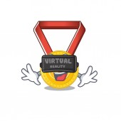 Virtual reality toy gold medal shaped on mascot