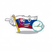 With clock flag slovakia with the shape character