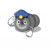 Police zoom lens mascot isolated with character