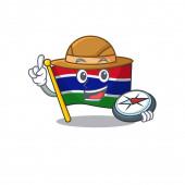 Explorer flag gambia fluttering on cartoon pole
