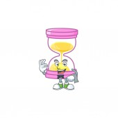 Waiter icon sandglass in the cartoon character