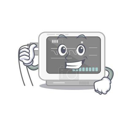 Thumbs up ecg machine stuck the cartoon wall vecto...