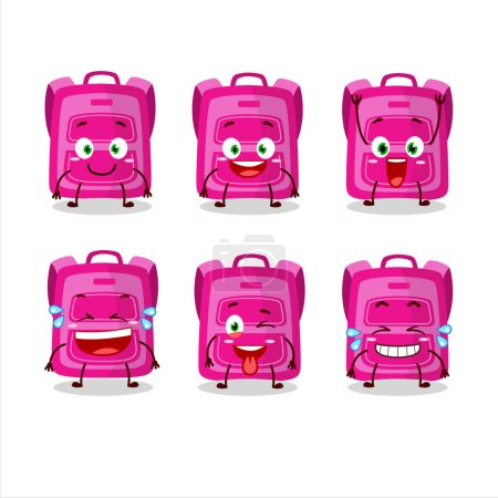 Illustration for Cartoon character of pink school bag with smile expression.Vector illustration - Royalty Free Image