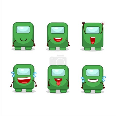 Cartoon character of among us green with smile expression