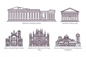Set of line isolated european religion buildings