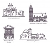 Famous architecture buildings of Slovakia in line