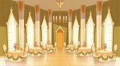 Vector cartoon castle hall ballroom for dancing
