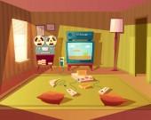 Vector cartoon interior of playroom for children